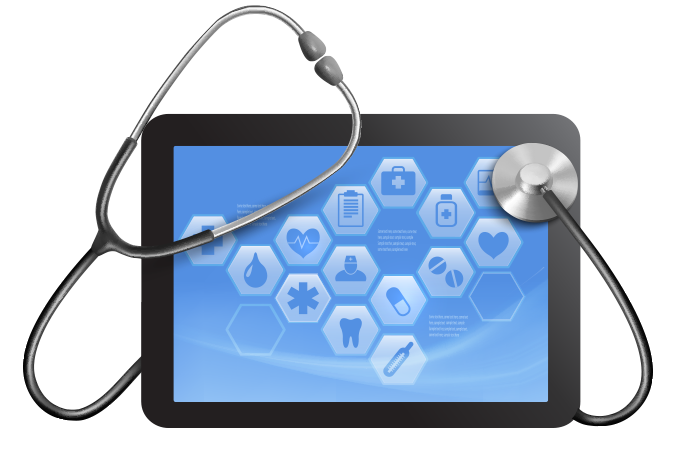 Tablet with stethoscope.